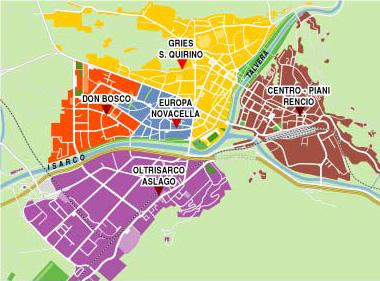Bolzano Cartina.Mappa Dei Quartieri Della Citta Di Bolzano